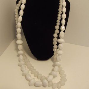 2 Vintage White Beaded Necklaces